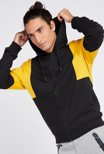 Colourblock Hoodie with Long Sleeves and Zip Closure