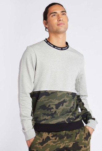 All Over Print Round Neck Panelled Sweatshirt with Long Sleeves