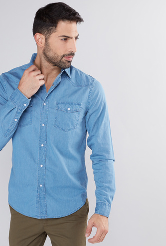 Denim Shirt with Long Sleeves and Complete Placket