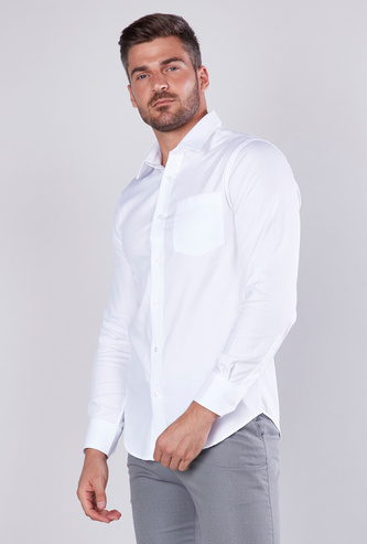 Solid Button-Down Shirt with Long Sleeves
