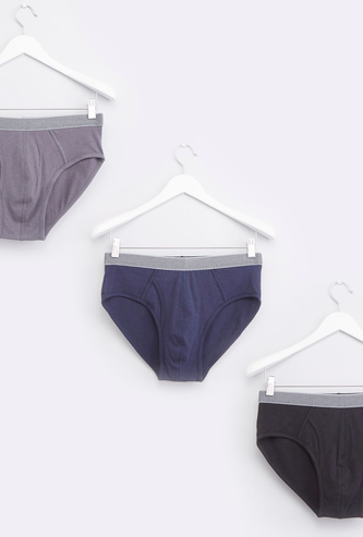 Set of 3 - Plain Briefs with Wide Elasticised Waistband