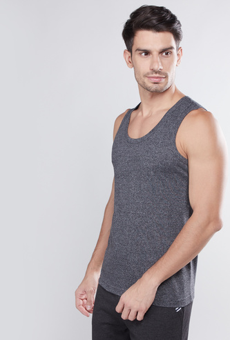 Textured Sleeveless Vest with Scoop Neck