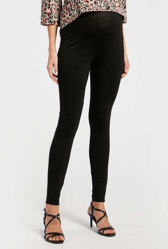 Maternity Solid Mid-Rise Ponte Pants with Elasticised Waistband