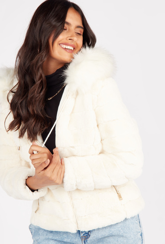 Quilted Jacket with Long Sleeves and Fur Lined Hood