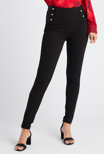 Solid High-Rise Ponte Leggings with Elasticised Waistband