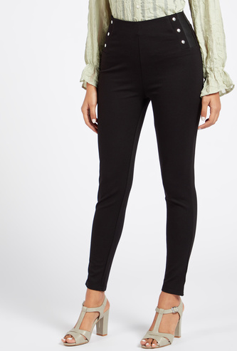Solid High-Rise Ponte Pants with Button Detail