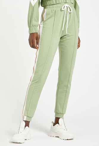 High-Rise Ankle Length Joggers with Tape Detail and Drawstring Closure