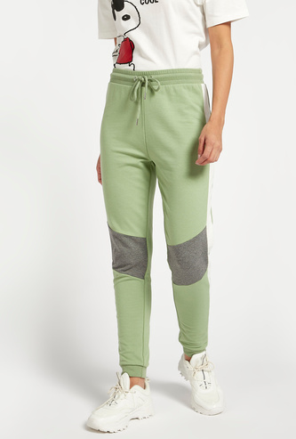 Colourblock Joggers with Elasticated Drawstring Waist and Cuffed Hems