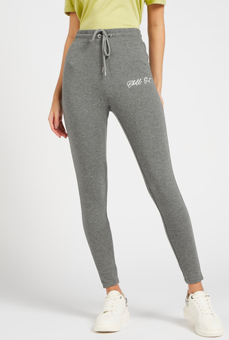 Full Length Solid Joggers with Drawstring Closure