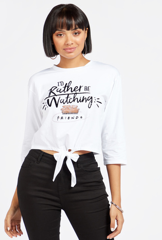 Friends Print Crop T-shirt with Front Knot Detail and 3/4 Sleeves