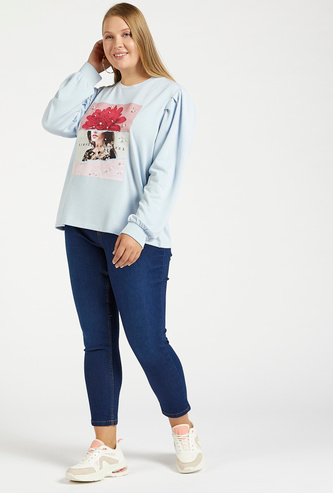 Solid Mid-Rise Cropped Jeggings with Elasticised Waistband