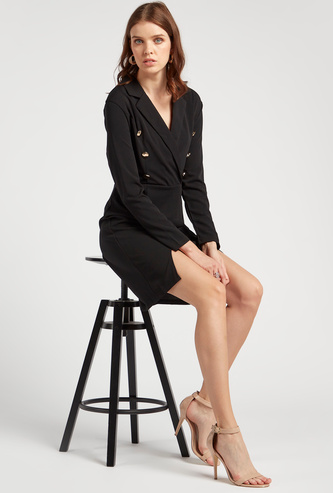 Plain Mini Shift Dress with Notched Lapel and Long Sleeves