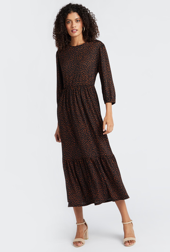 Printed Midi Length Tiered Dress with 3/4 Puff Sleeves