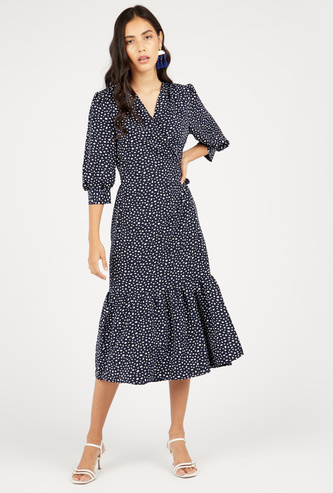 Scatter Dots Print Tiered Midi Dress with 3/4 Sleeves and Tie-Ups