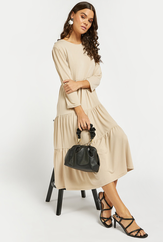 Solid Round Neck Tiered Dress with Long Sleeves