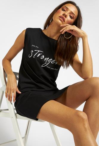 Power Shoulder Slogan Print Sleeveless Knee Length Shift Dress