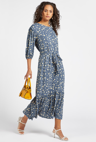 Floral Print Midi Tiered Dress with Volume Sleeves and Sash