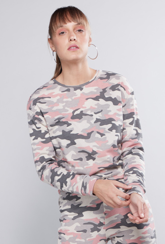 Abstract Camouflage Printed Sweat Top with Round Neck and Long Sleeves