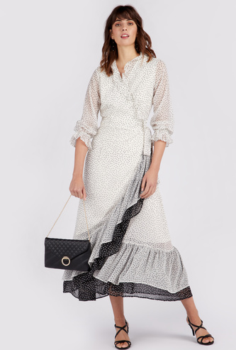Printed Maxi A-line Wrap Dress with Long Sleeves