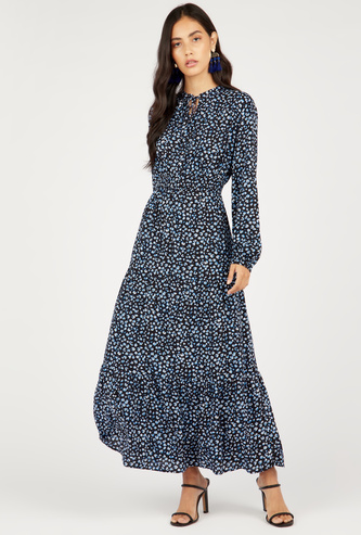 Printed Tiered Maxi Dress with Long Sleeves and Neck Tie-Ups
