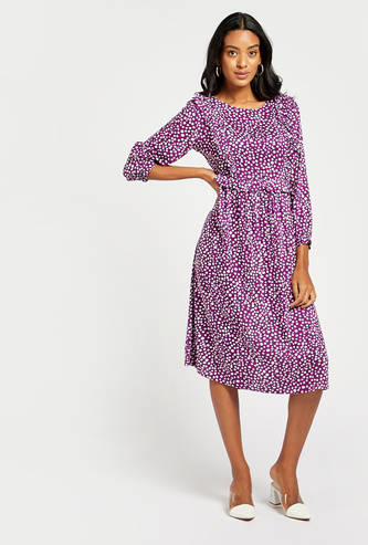 Polka Dots Print A-line Midi Dress with Long Sleeves