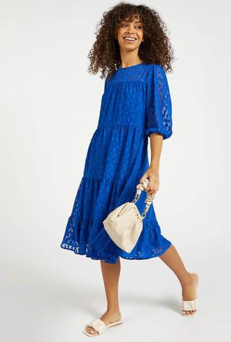 Textured Tiered Midi Dress with Round Neck and 3/4 Sleeves
