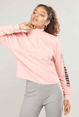 Printed High Neck Sweat Top with Long Sleeves and Half-Zip Closure