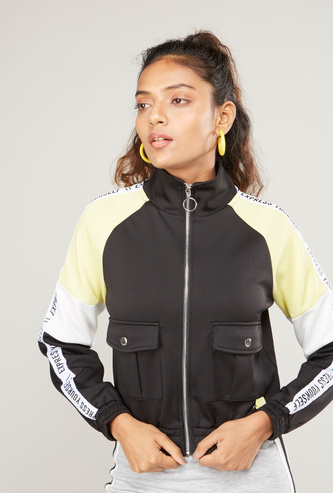 Colourblocked Bomber Jacket with Printed Tape Detail