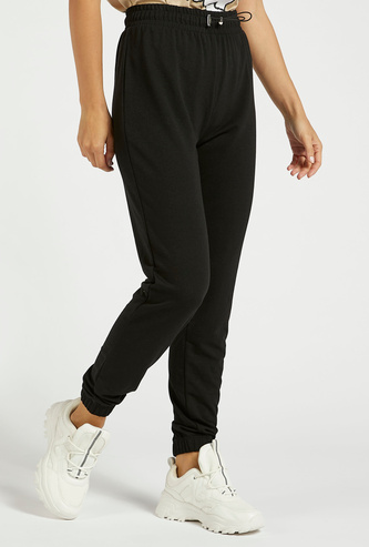 Solid High-Rise Jog Pants with Elasticised Waistband