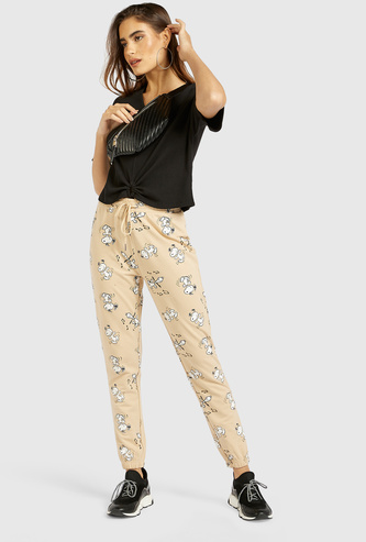Full Length All-Over Snoopy Print Jog Pants with Drawstring Closure
