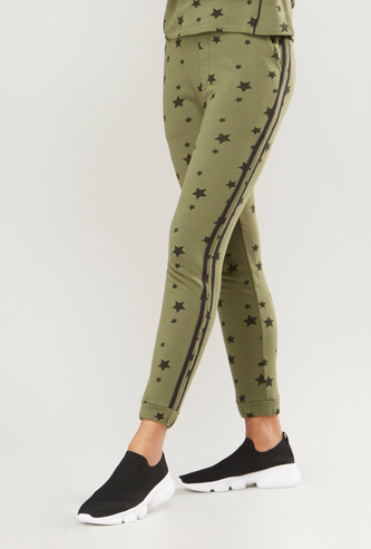 Star Print Jog Pants with Pocket Detail