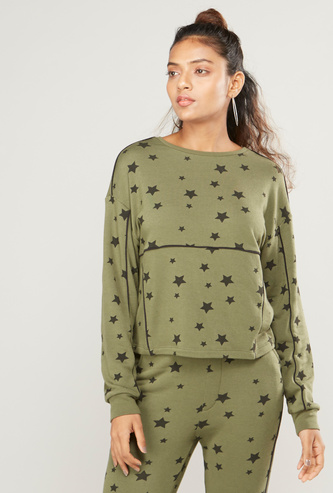 Printed Round Neck Sweat Top with Long Sleeves and Piping Detail