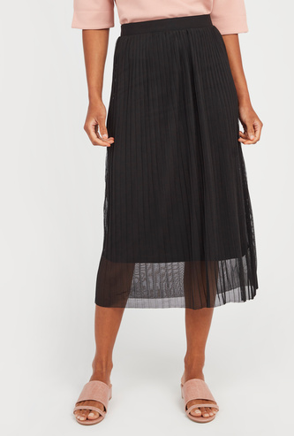 Pleated Midi Skirt with Pleat Detail