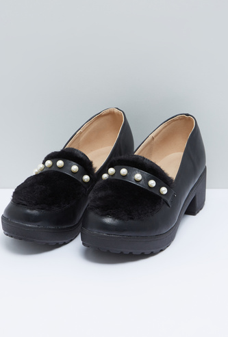 Pearl Detail Slip-On Shoes with Block Heels