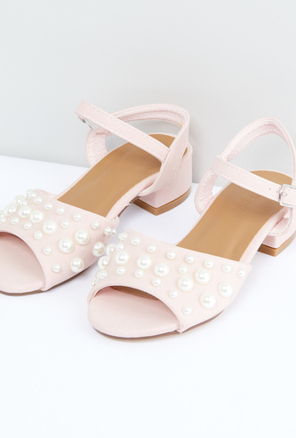Pearl Detail Ankle Strap Sandals with Buckle Closure
