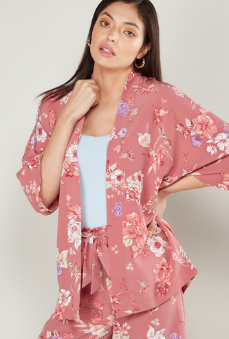 Floral Print Kimono Jacket with 3/4 Sleeves