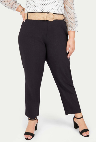Solid Mid-Rise Pants with Belt