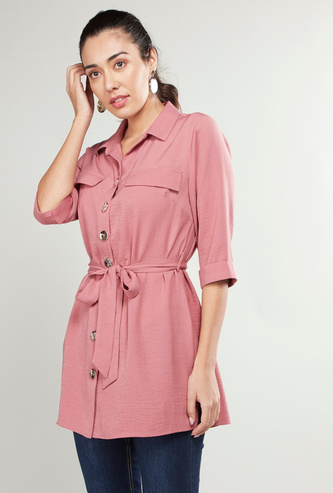 Solid Collared Tunic with 3/4 Sleeves and Belt