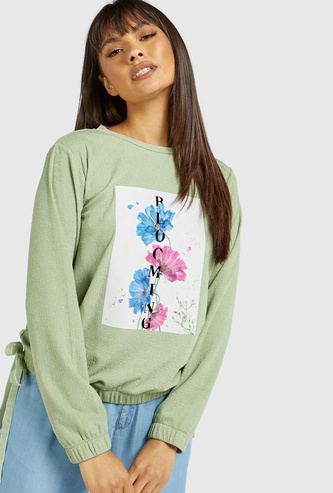 Floral Print Sweat Top with Long Sleeves and Elasticised Hem