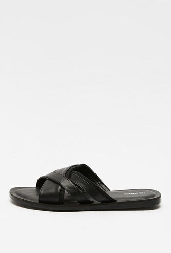 Solid Sandals with Criss Cross Straps