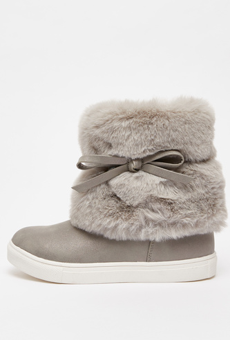 Plush Detail High Top Boots with Bow Applique and Zip Closure