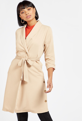 Solid Trench Coat with Long Sleeves and Button Detail