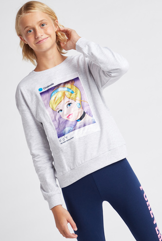 Cinderella Print Round Neck Sweatshirt with Long Sleeves