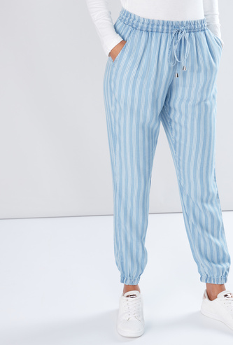 Striped Harem Pants with Drawstring and Pocket Detail