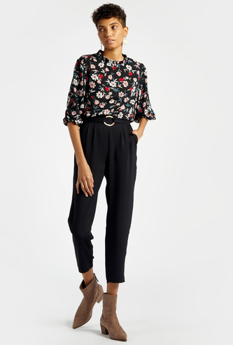 Pleated High-Rise Cropped Pants with Pocket Detail