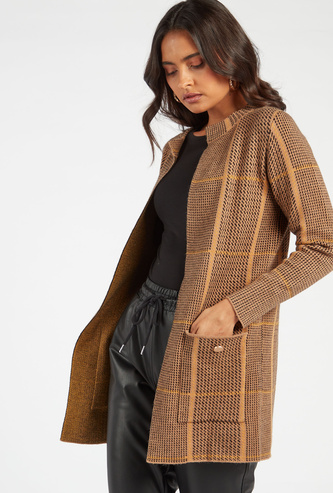 Houndstooth Print Open Front Coat with Patch Pockets
