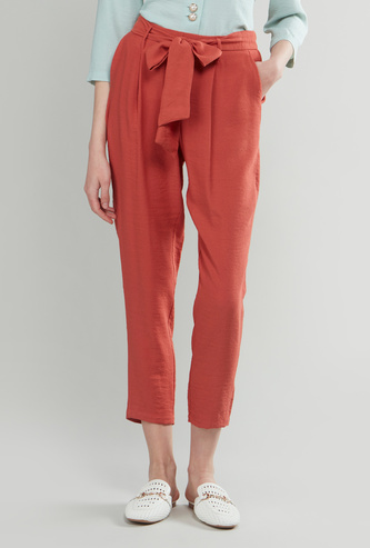 Solid Pleated Cropped Pants with Fabric Belt