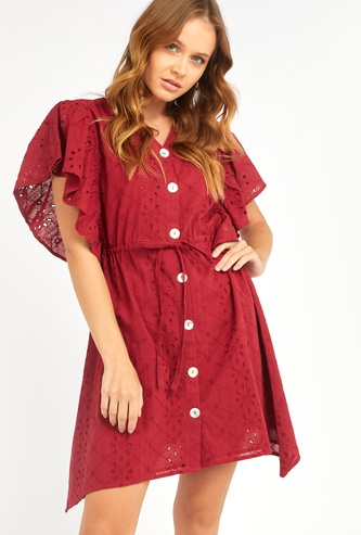 Schiffli Detail Mini A-line Dress with Frill Sleeves and Tie Ups