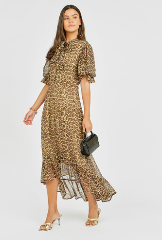 Animal Print Midi Dress with Pussy Bow and Asymmetric Hem