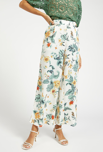 All-Over Floral Print Palazzo with Pockets and Elasticised Waistband